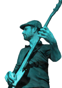 Steve playing a V7 Jazz Bass during live performance